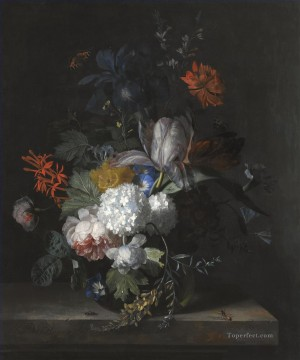 A STILL LIFE WITH HYDRANGEA CONVOLVULUS POLYANTHUS PEONIES AURICULA CARNATION TULIPS SNOWBALLS AND OTHER FLOWERS IN A GLASS VASE Jan van Huysum classical flowers Oil Paintings